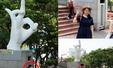 중국관광객, 일베 조각상앞에서 기념촬영