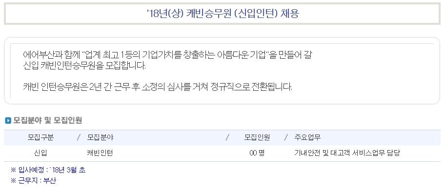 자소서 항목 분석① 에어부산 캐빈인턴 2018 - 자...