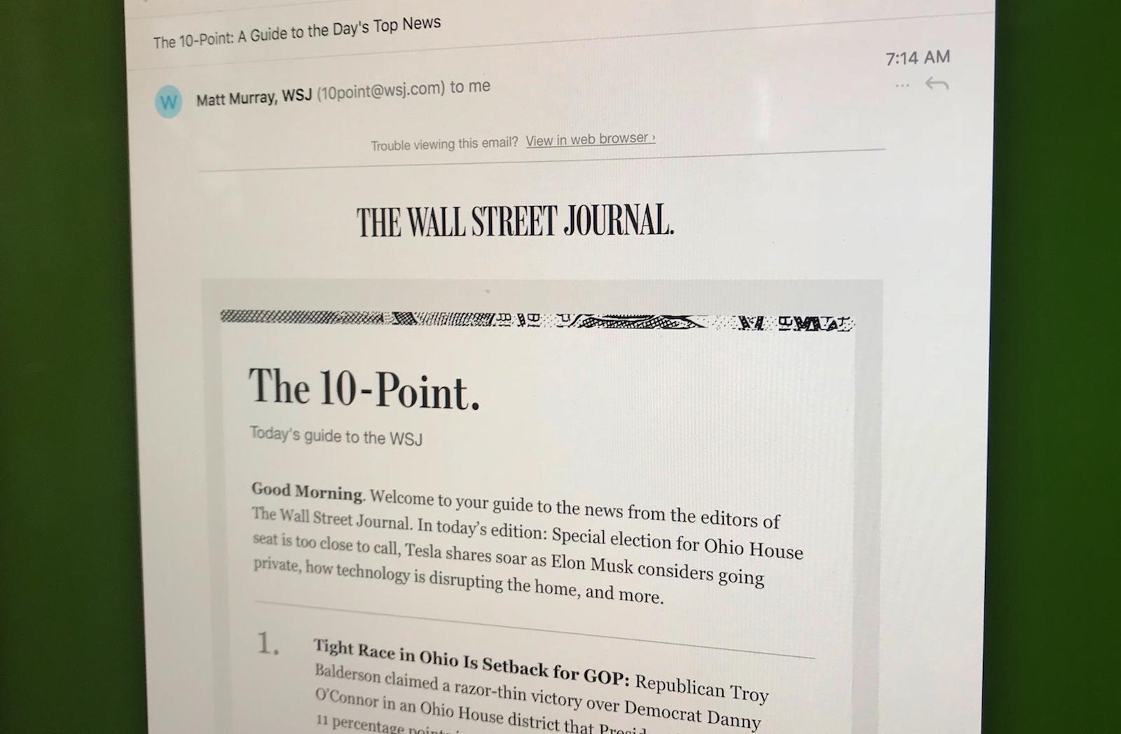 WSJ이 주는 뉴스레터 팁 5가지 - 월스트리트저널은...