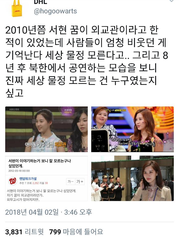 방북 공연의 사회자, 서현을 통해 보는 '꿈' - 꿈...