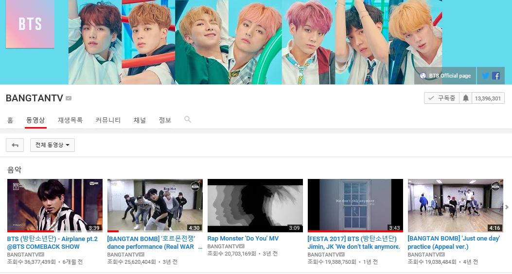 방탄소년단과 유튜브