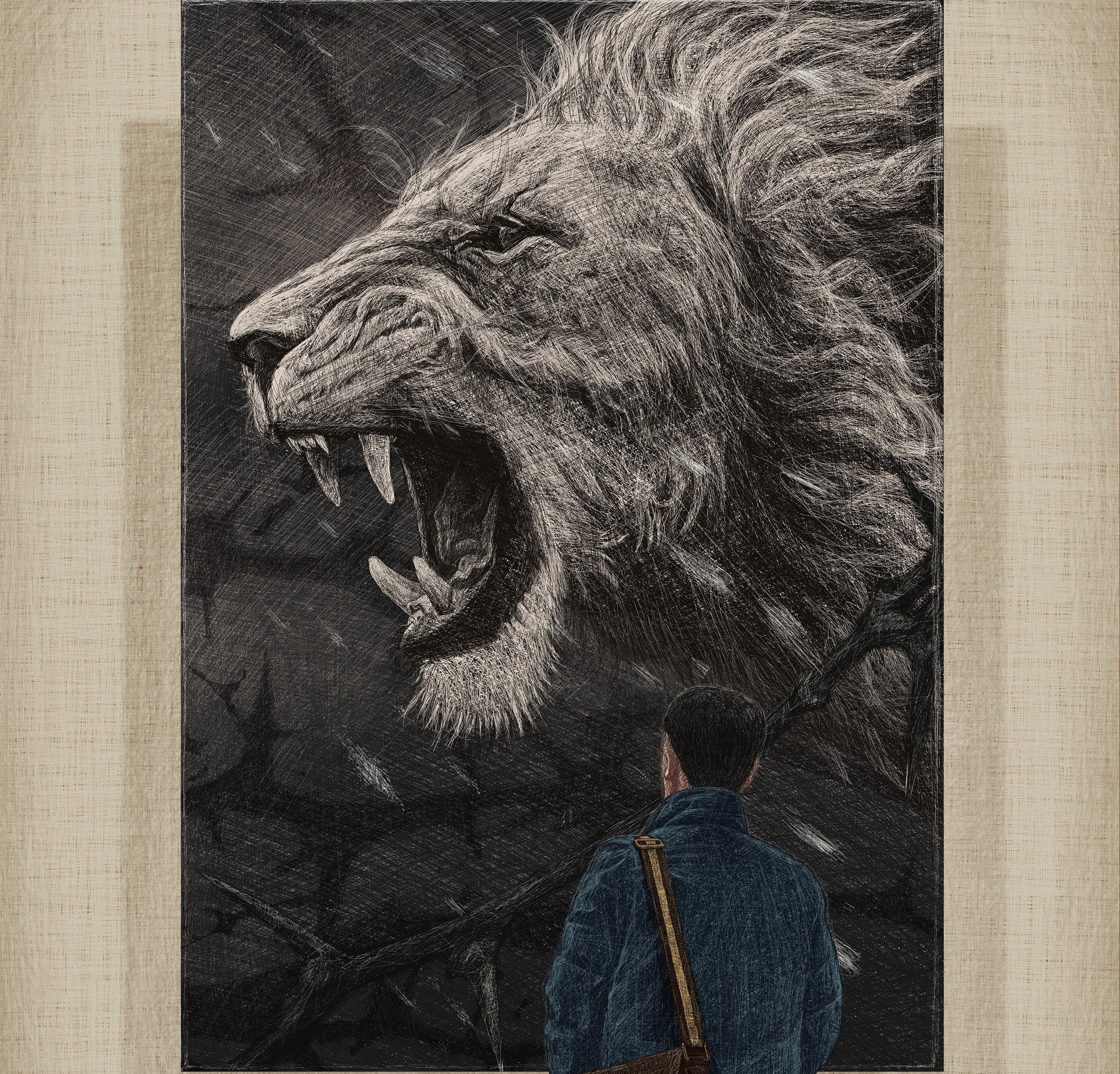 사자 그림을 보고 있는 남자