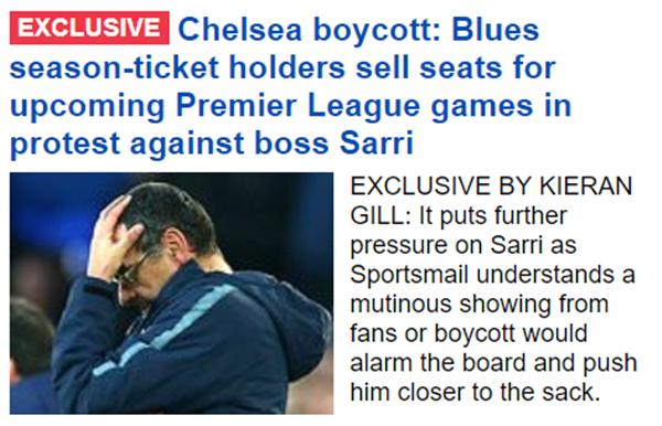 """""""사리 아웃!"""" 첼시 팬들, 시즌티켓 판매+보이콧 ..."""
