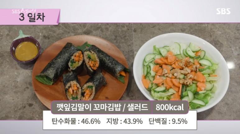 FMD식단 3일차 - 깻잎김말이꼬마김밥 + 샐러드