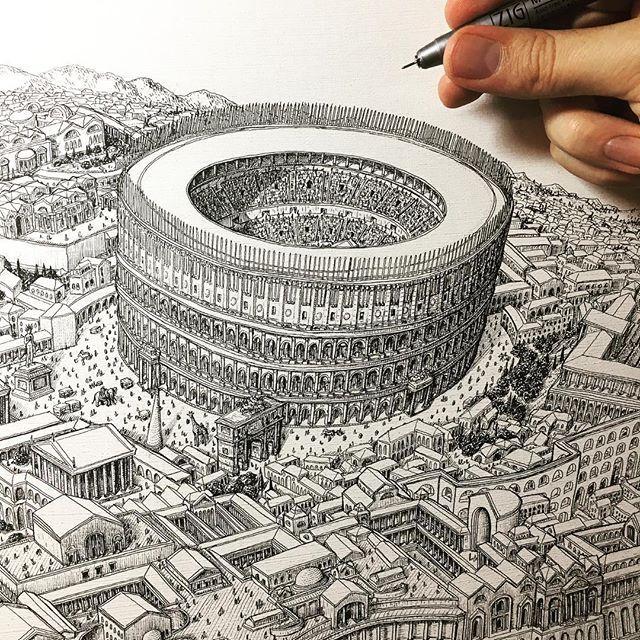 펜 한 자루로 엄청난 도시 전경 그려내는 작가   1boon