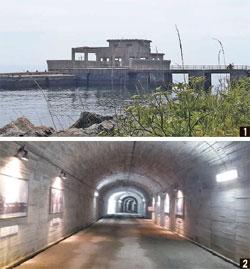 ① 오쓰시마에 남아 있는 가이텐 훈련·발사장. ② 어뢰를 운반했던 터널. [박보균 대기자], [중앙포토]
