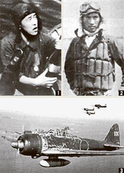 ① 가이텐 창안자 구로키 히로시. ② 가미카제 첫 출격 지휘관 세키 유키오. 두 해군 대위는 23세로 숨졌다. ③  제로센 전투기. [중앙포토]