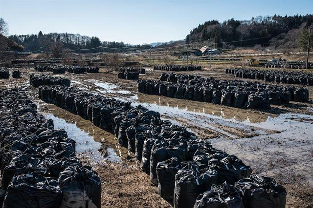 후쿠시마에 제염이 진행될수록 제염토 등을 담은 검은 자루들은 쌓여만 간다. 문제는 방대한 양의 이 자루들을 둘 곳이 정해지지 않은 경우가 많아 집 앞이나 학교 옆 공터 곳곳에 그대로 방치돼 있는 실정이다. 피에르 엠마뉴엘 델레트헤 프리랜서 기자 pedeletree@gmail.com