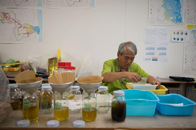 미나미소마에 있는 '니시키초 방사능 측정센터' 관계자가 방사능을 흡수해 지력을 되돌린다고 알려진 유채에서 기름을 채유하기 위해 수작업을 하고 있다. 피에르 엠마뉴엘 델레트헤 프리랜서 기자 pedeletree@gmail.com