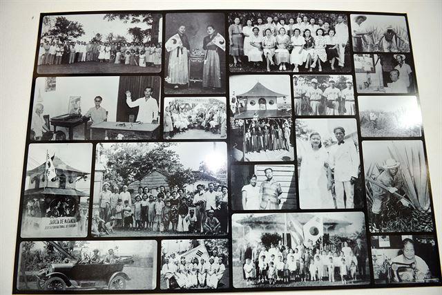 아바나 '호세 마르티 한국 쿠바 문화클럽'에 내걸린 쿠바 이주 한인들의 사진. 아바나(쿠바)=전준호기자 jhjun@hankookilbo.com/2016-06-15(한국일보)
