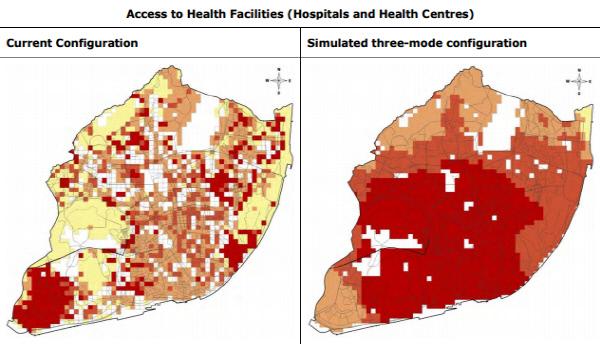 빨간 색으로 표시된 지역일수록 보건 시설 접근성이 좋다. 자가용과 버스 대신 공유 차량을 도입할 경우 도시 외곽 지역의 보건 시설 접근성이 크게 개선되는 것으로 나타났다.