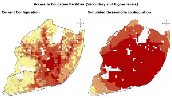 빨간 색으로 표시된 지역일수록 교육 시설 접근성이 좋다. 자가용과 버스 대신 공유 차량을 도입할 경우 도시 외곽 지역의 교육 시설 접근성이 크게 개선되는 것으로 나타났다.