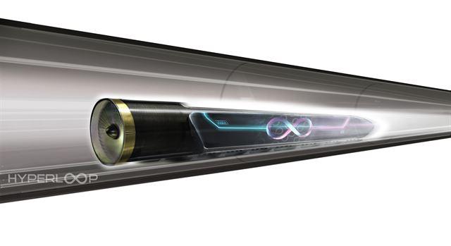 미국 기업 하이퍼루프원이 개발 중인 미래형 초고속 열차 '하이퍼루프'의 상상도. 진공관 안에 들어 있는 총알처럼 생긴 열차가 바닥에서 뜬 채로 달린다. 하이퍼루프원 제공