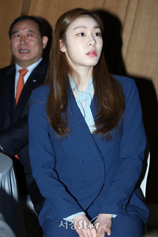 김연아가 21일 서울 중구 페럼타워 3층홀에서 열린 친환경 평창동계올림픽 개최를 위한 '통합적 수자원 관리 프로젝트 협약식'에 참석했다.