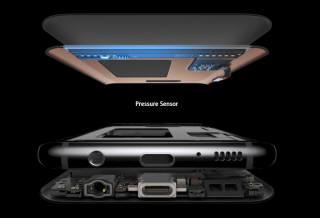 갤럭시S8 하단부에 적용된 압력 센서 부분. 누르는 힘을 인식해 홈버튼 기능이 작동한다.(자료: 삼성전자)