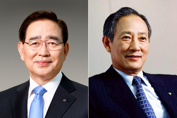 (왼쪽부터)한동유 전 회장, 김승유 전 회장