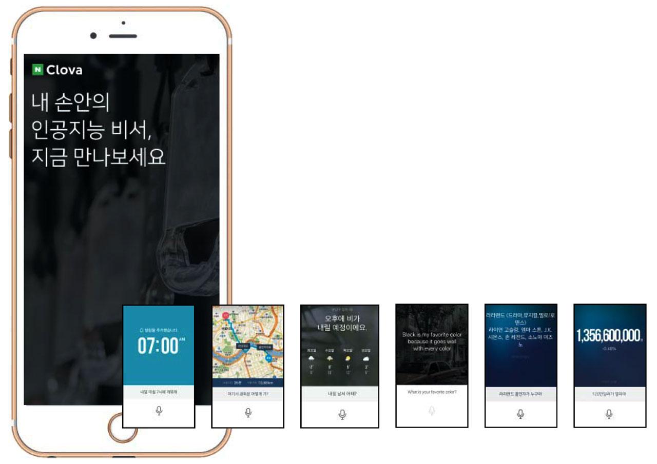 인공지능(AI) 비서 앱 '네이버-클로바 베타'의 다양한 기능. (왼쪽부터) 알람 설정, 길 찾기, 날씨 예보, 영어 대화, 정보 검색, 환율 계산. / 네이버 제공