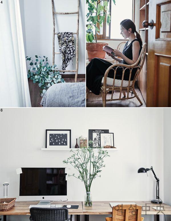 4 침실에는 큰 침대 하나와 옷가지를 걸쳐놓을 수 있는 사다리, 작은 사이드 테이블이 전부다. 5 집에 작업실을 만들고 나니 시간 활용이 훨씬 편해졌다. 6 말끔히 정리해놓은 작업실.