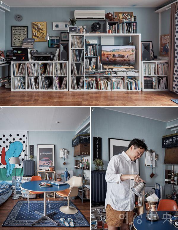 1 집 한쪽 벽면은 온통 LP로 가득하다. 2 벽도 러그도 테이블도 파란색으로 맞췄다. 침대 옆에는 일러스트레이터 파라의 그림이 그려진 비치타월을 걸었다. 3 커피는 핸드 드립으로 내려 마신다.