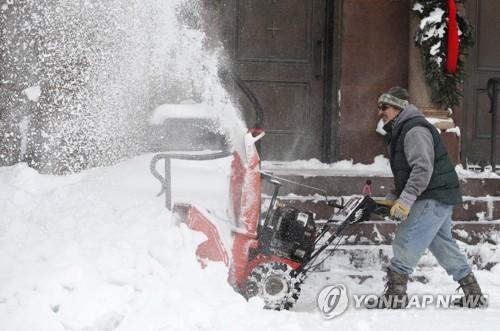 눈 쌓인 미국 펜실베이니아 [AP=연합뉴스]