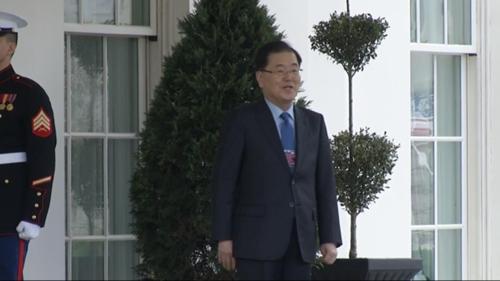 도널드 트럼프 대통령을 만나기 위해 백악관에 도착한 정의용 청와대 국가안보실장 [APTN 캡처]
