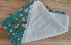 간단하게 만든 꽃무늬 주방 수건