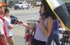 선글라스·양산쓰고 물난리 취재 간 중국 여기자 '논란'