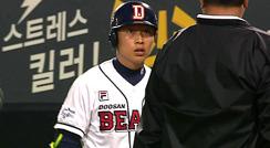 정수빈 중계진도 이해하기 힘든 판정 항의 / 6회말