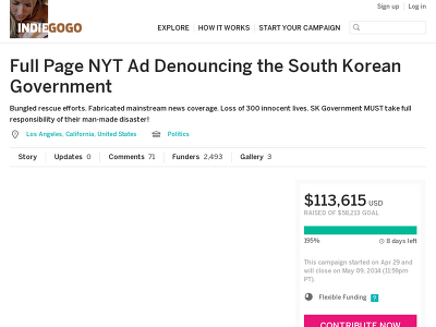 https://www.indiegogo.com/projects/full-page-nyt-ad-denouncing-the-south-korean-government#home
