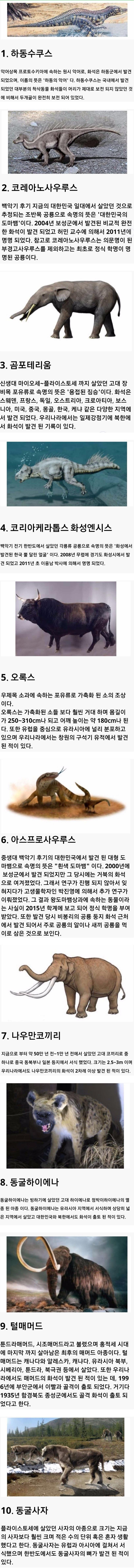 한반도에 서식했던 고대 동물