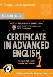 Cambridge Certificate in Advanced English 1 with Answers: Official Examination Papers from University of Cambridge ESOL Examinations (Paperback/ Updated)
