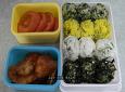 봄나물로 만든 삼색 주먹밥
