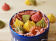 세가지 색과 맛 녹차 상투과자,단호박 상투과자,백련초 상투과자