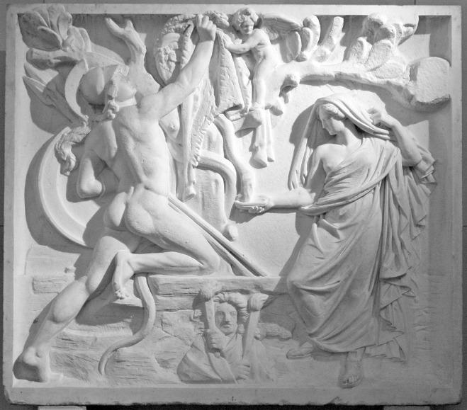용에게 수면제를 먹이는 메데이아와 황금양피를 탈취하는 이아손, Christian Daniel Rauch, 1818