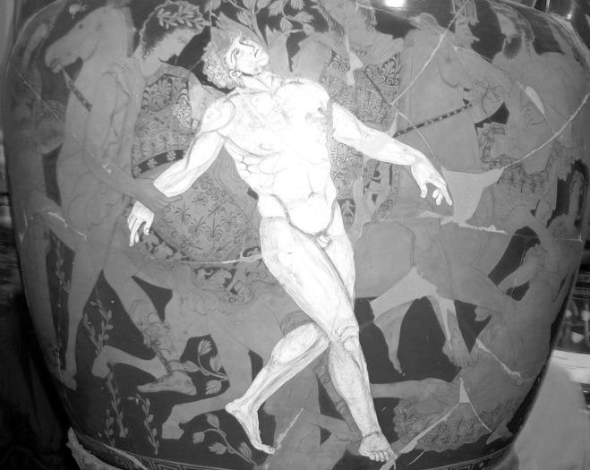 탈로스, BC 4세기경의 도기 그림
