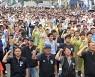 서울역 앞에 모인 철도노동자