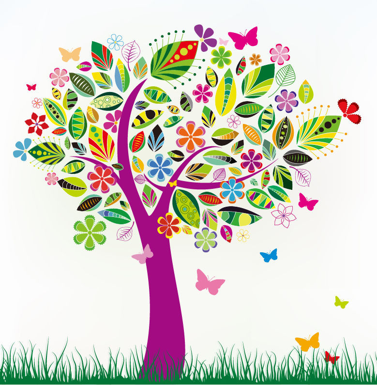 [동화 일러스트] 나무 이미지 Abstract Tree with Flower Patterns