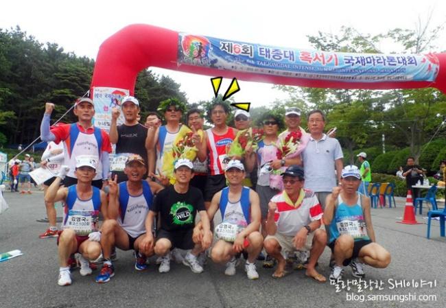 제6회 태종대 혹서기 국제마라톤대회에서 선수들과 함께