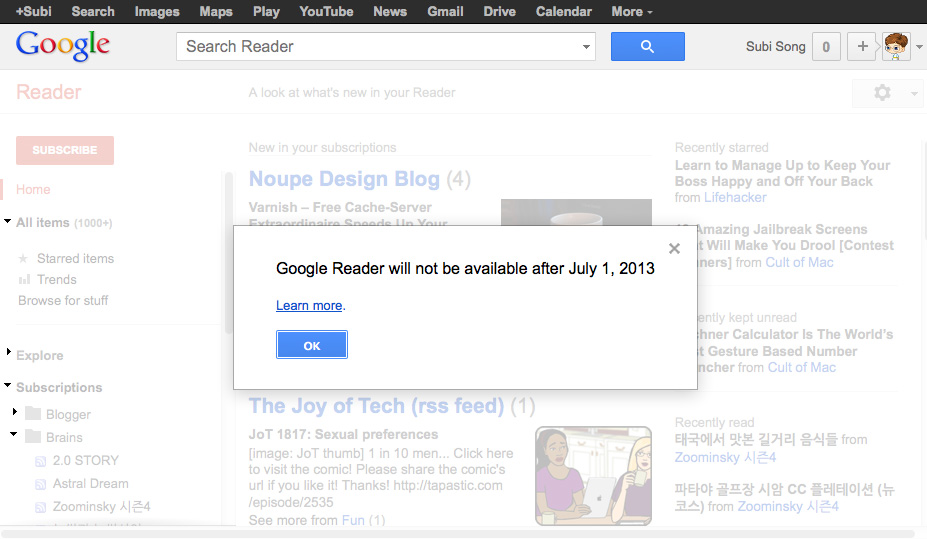 Google Reader Service Notice