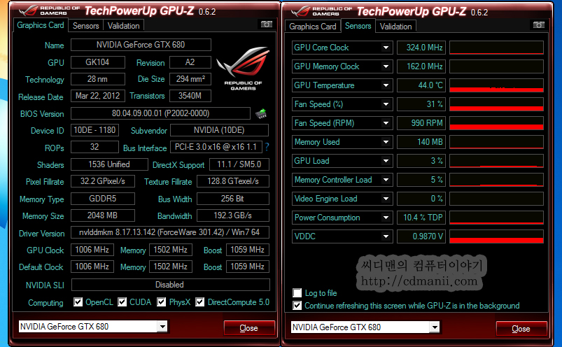 GPU-Z 0.6.2 다운로드, 그래픽카드 정보 보기, 그래픽카드 정보, Graphics Card, Techpowerup, GPU-Z, 다운로드, IT, 정보, 최신, download, GPU-Z 0.6.2 다운로드  이엠텍 지포스 GTX 680 프리미엄 에디션 그래픽카드를 확인해보기 위해서 GPU-Z 0.6.2를 사용 했습니다. 이 프로그램을 이용하면 그래픽카드의 정보를 상세하게 확인할 수 있습니다. GPU-Z 0.6.2 다운로드 는 제 블로그에서 다운로드 해서 사용해도 됩니다. 물론 techpowerup.com 에서 다운로드 해서 사용해도 됩니다.  GPU-Z를 이용하면 그래픽카드의 정보는 물론 센서정보를 통해서 GPU의 클럭변화와 팬의 RPM 그리고 온도정보를 확인할 수 있습니다. GTX 680 , GTX 670 을 테스트하면서 온도측정을 이 프로그램으로 실시 했습니다. 그렇다면 GPU-Z로 무엇을 알 수 있는지 확인해보겠습니다.