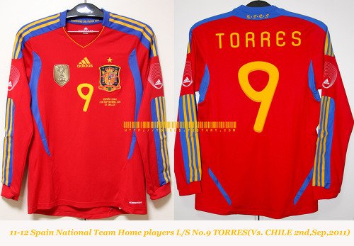 11-12 Spain National Team Home players L/S No.9 TORRES (Vs.Chile,2nd,Sep,2011, St.Gallen)