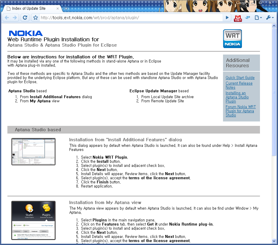 Nokia Web Runtime Plugin Installation for Aptana Studio & Aptana Stdio Plugin for Eclipse