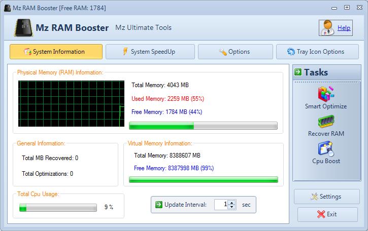 Mz RAM Booster, 메모리 최적화 프로그램, 시스템 최적화 프로그램
