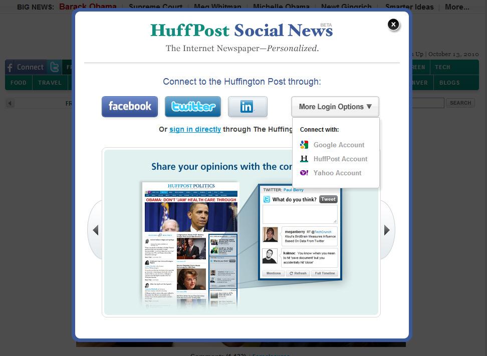 미국 인터넷 뉴스 사이트 Huff Post의 Social Sign-On 모습