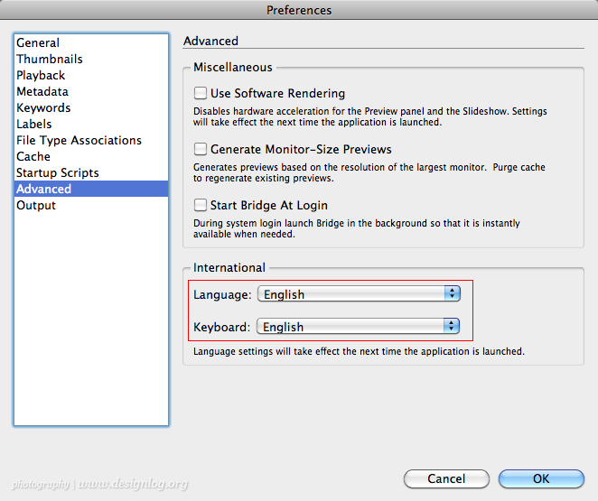 Adobe Bridge 메뉴, 한글화하는 방법