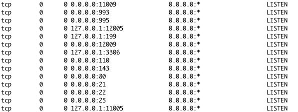 netstat 명령어 실행 결과