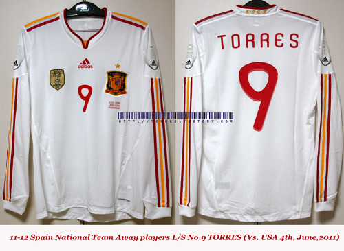 11-12 Spain National Team Away players L/S No.9 TORRES (Vs. USA 4th,June,2011)
