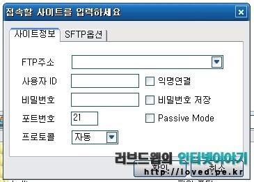 접속할 사이트 정보