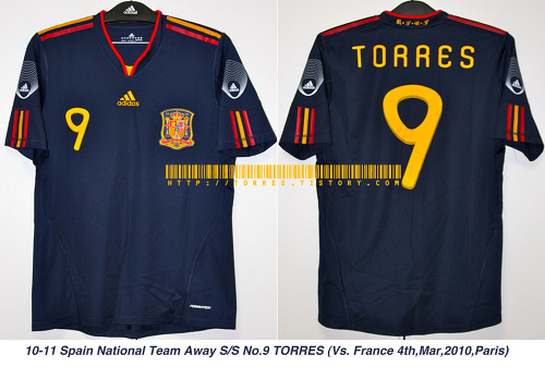 10-11 Spain National Team Away players S/S No.9 TORRES (Vs.France 4th,May,2010,Paris)