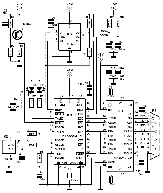 include resetdy usb rs232 converter circuit USB to RS232 Schematic hardwareschematic
